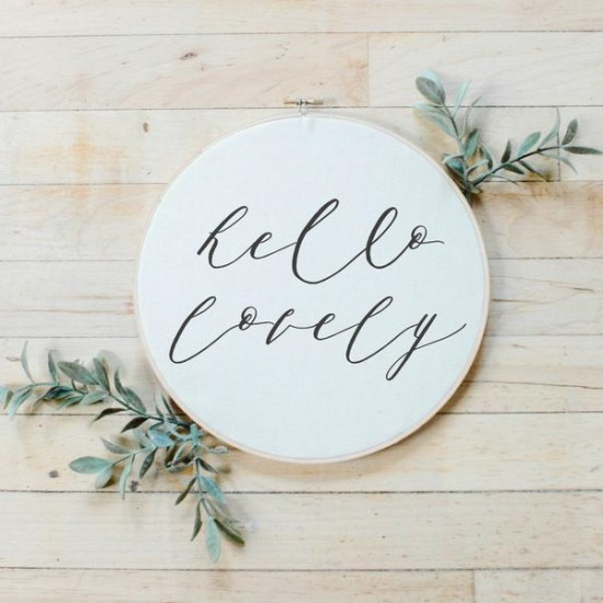 Hello Lovely Faux Embroidery Hoop