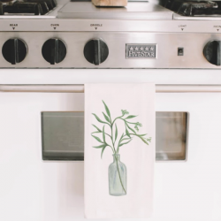 Eucalyptus Vase Watercolor Tea Towel