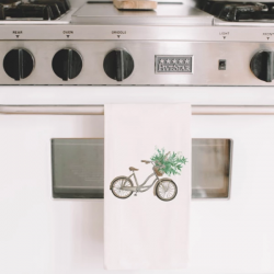 Floral Bike Watercolor Tea Towel