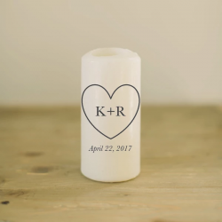 Personalized Heart Initials with Date Candle
