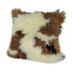 Natural Tibetan Lamb Brown and White - Pillow