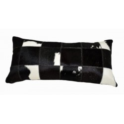Cowhide Patchwork Pillows - Black And White