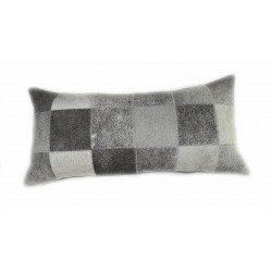 Cowhide Patchwork Pillows - Grey