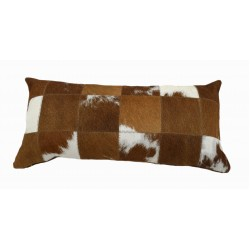Cowhide Patchwork Pillows - Red And White