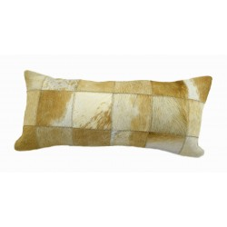 Cowhide Patchwork Pillows - Tan and White