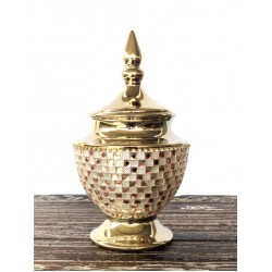 Rose Crystal And Gold Lidded Jar