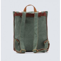 WAXED CANVAS BACKPACK WITH LEATHER TRIM, CASUAL BACKPACK, SCHOOL BACKPACK, RUCKSACK 1831