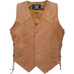 Men's brown vest with side lace- AL2217