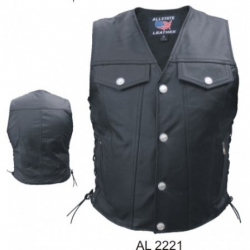 MEN'S LEATHER DENIM STYLE VEST- AL2221