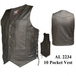 Men's 10 Pockets Vests in Split Cowhide Leather- AL2234