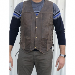 Men's 10 Pocket Rustic Brown (Vintage Look) Vest in Premium Buffalo Leather- AL2237
