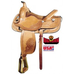 "Big Horn 16"" roping saddle with floral tooling"