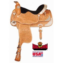 """Big Horn 16"""" Tooled & Silver Accent Show Saddle"""