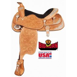 """Big Horn A01943 16"""" Tooled & Silver Accent Show Saddle"""