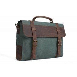 CANVAS LEATHER BAG BRIEFCASE MESSENGER BAG SHOULDER BAG LAPTOP BAG 1870