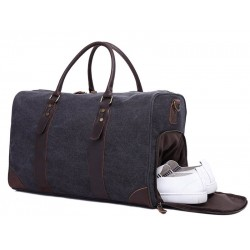 Canvas Leather Trim Travel Duffel Shoulder Handbag Weekender Carry On Luggage with Shoe Pouch F24
