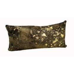 Designer Cowhide Pillows - Black With Gold