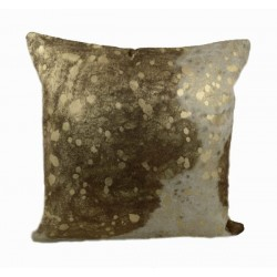 Designer Cowhide Pillows - Black and White with Gold