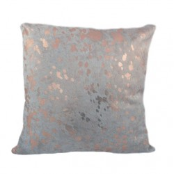 Designer Cowhide Pillows - Ivory With Rose Gold