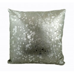 Designer Cowhide Pillows - Ivory with Silver