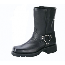 """Mens 7"""" Harness Motorcycle Boots With Zipper"""