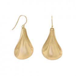 14 Karat Gold Plated Spoon Design French Wire Earrings