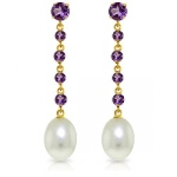 10 Carat 14K Solid Yellow Gold New View Amethyst Pearl Earrings