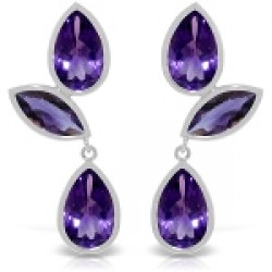 13 Carat 14K Solid White Gold Great Minds Amethyst Earrings