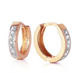 0.04 Carat 14K Solid Rose Gold Hoop Huggie Earrings Diamond