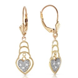 0.03 Carat 14K Solid Yellow Gold Leverback Earrings Diamond
