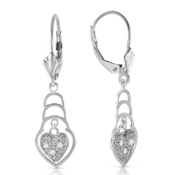 0.03 Carat 14K Solid White Gold Leverback Earrings Diamond