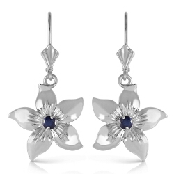 0.2 Carat 14K Solid White Gold Leverback Flowers Earrings Sapphire