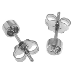 0.03 Carat 14K Solid White Gold Ice Charm Diamond Earrings