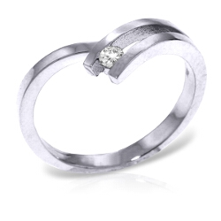0.1 Carat 14K Solid White Gold Pygmalion Diamond Ring