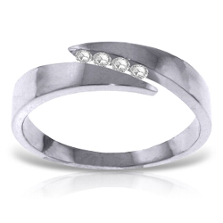 0.12 Carat 14K Solid White Gold Ring Natural Channel Set Diamond
