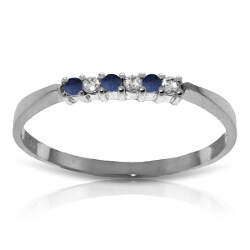 0.11 Carat 14K Solid White Gold Good To Be Loved Sapphire Diamond Ring