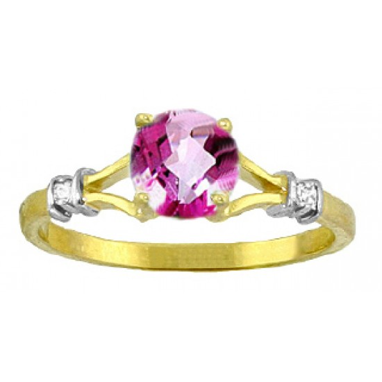 1.02 Carat 14K Solid White Gold Be Original Pink Topaz Diamond Ring