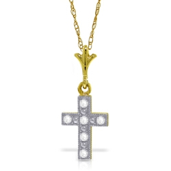 0.03 Carat 14K Solid Yellow Gold Cross Necklace Natural Diamond