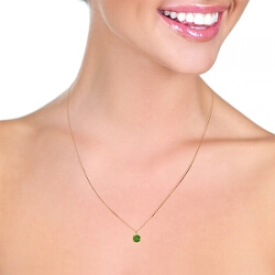 14K Solid Rose Gold Necklace w/ Natural 0.50 Carat Green Diamond