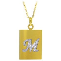 0.01 Carat 14K Solid Yellow Gold Initial Necklace Diamond