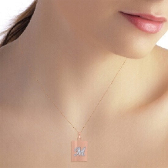 0.01 Carat 14K Solid Rose Gold Initial Necklace Diamond