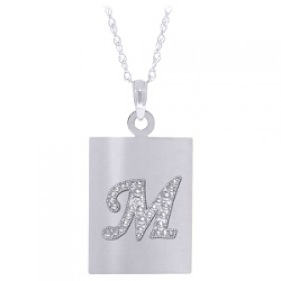 0.01 Carat 14K Solid White Gold Initial Necklace Diamond