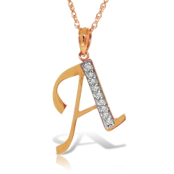 14K Solid Rose Gold Necklace w/ Natural Diamonds Initial 'a' Pendant