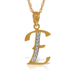 14K Solid Rose Gold Necklace w/ Natural Diamonds Initial 'e' Pendant