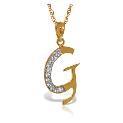 14K Solid Rose Gold Necklace w/ Natural Diamonds Initial 'g' Pendant