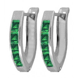 1.6 Carat Sterling Silver Treat Yourself Created Emerald Earrings