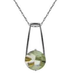 1.45 Carat Sterling Silver Necklace Natural Green Amethyst
