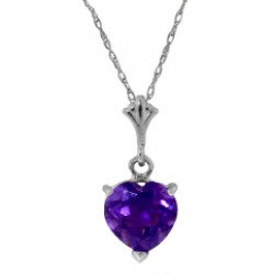 1.15 Carat Silver Necklace Natural Heart Amethyst