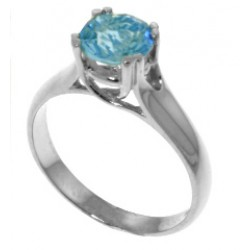 1.1 Carat Sterling Silver Solitaire Ring Natural Blue Topaz