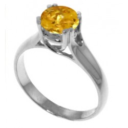 1.1 Carat Sterling Silver Solitaire Ring Natural Citrine